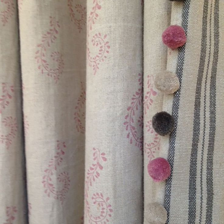 Curtains Violet Shallini/Charcoal Ticking Stripe