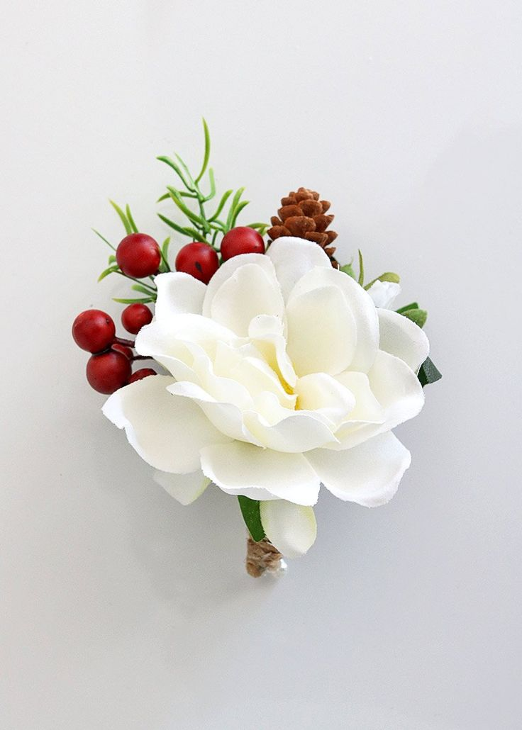 """White Gardenia and Red Berry Boutonniere - 4"""" Tall"""