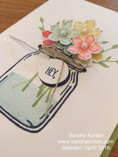 Cute card...pull up flowers for a hidden message, Jar of Love, Everyday jars, Petite Petals, Stampin up
