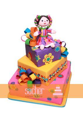 Pastel de muñequita en regalos ¡hermoso!