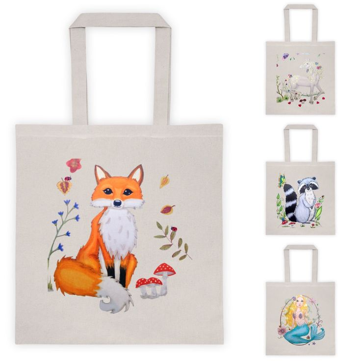 Fox totes woodland creatures totebags, boombags, bags.  Lovely totes for your groceries boks and more! Visit lumisadesign for more cute totes And prints.