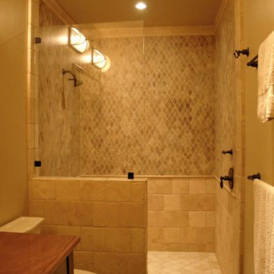 Simple Glass Panel Walk In Shower No Door Would Build The Half Wall Up A Little Higher Home