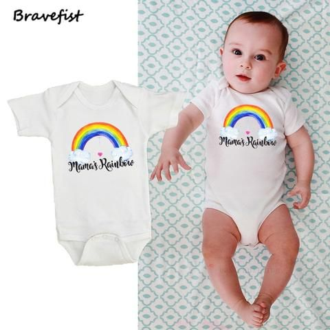db95429d3b6 Cotton Short Sleeve Baby Rompers Rainbow Print Newborn Infant Clothing  Toddler Boy Girls Jumpsuits Bebes Roupas Kids Outfits