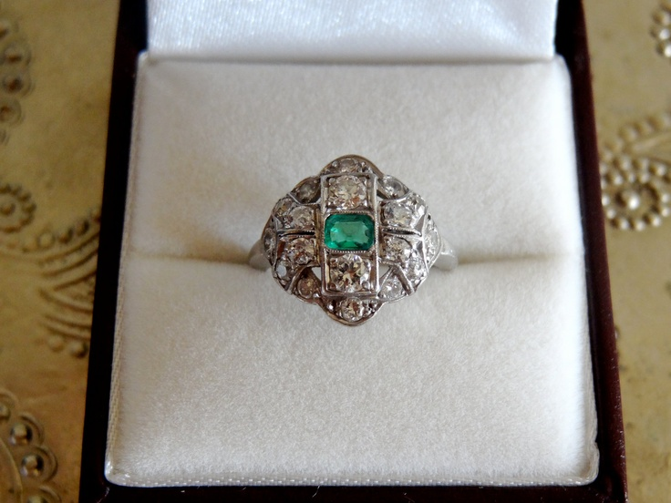 Vintage Art Deco Emerald & Diamond Platinum Ring c1920's. via Etsy.