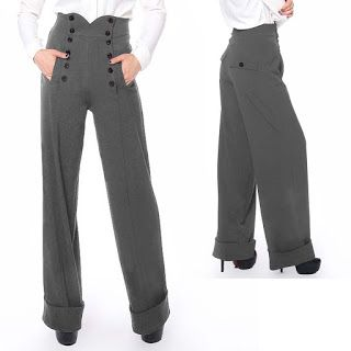 BlueBerryHillFashions: Rockabilly 40s Wide Leg Pants | xs to 28