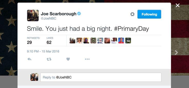 "STFU, ""Joe."" What a douche.  MSNBC's Joe Scarborough Tells Hillary Clinton to Smile More"