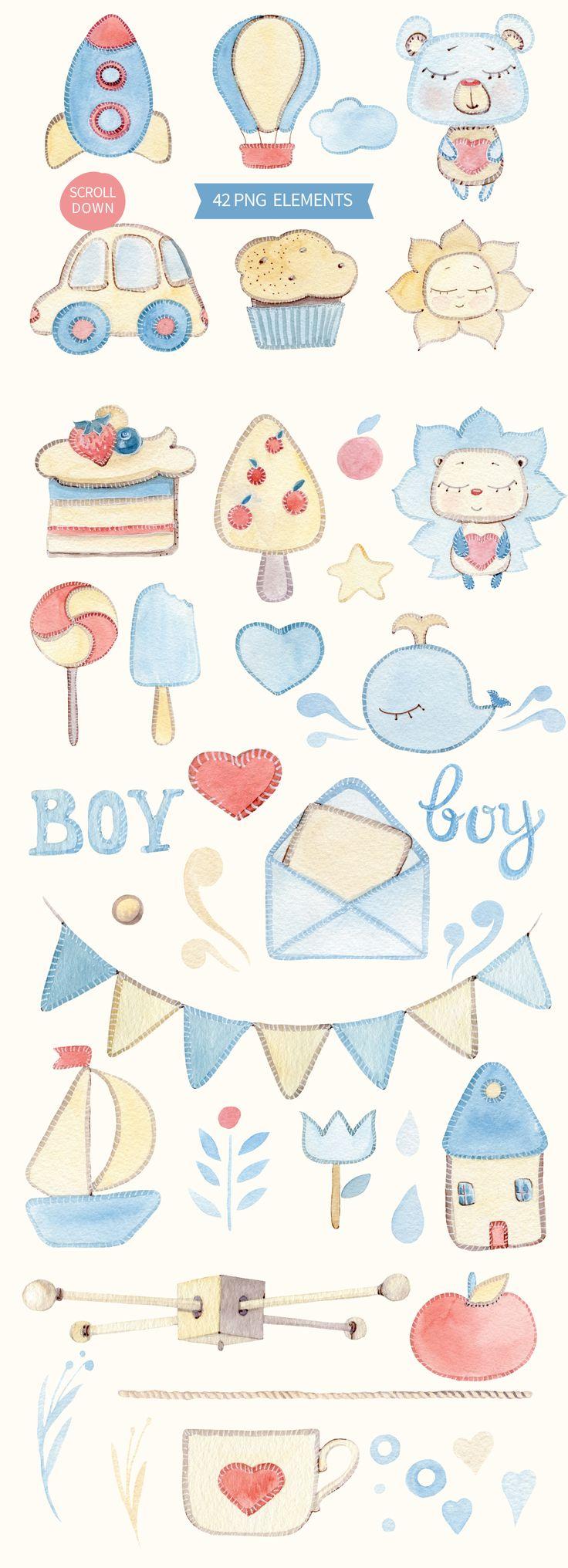 IT'S A BOY watercolor set by Lemaris on @creativemarket