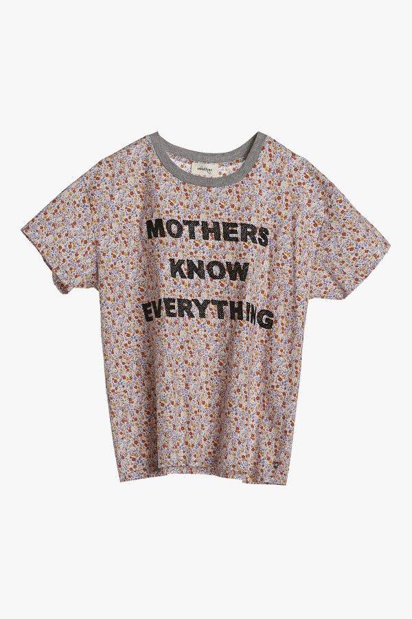 T-shirt in popeline di cotone a fiori