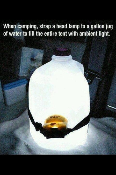 When camping, strap a head lamp to a gallon jug of water to fill the entire tent with ambient light. (I'm going to have this on hand at home for when the power goes out. A flashlight just doesn't cut it!)