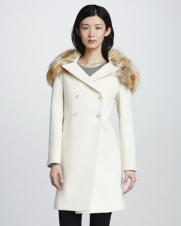 #TAIGANHOLIDAY A creamy double-breasted wool coat with a vintage silhouette gets extra glamorous with a detachable fox-fur collar that fits neatly over the traditional notched collar. Slant pockets and a back vent are simple finishing details. Long sleeves. Fully lined.Fabric: Wool felt.Fur: Natural fox fur