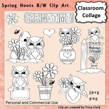 Owl Clip Art Spring Hoots line drawing B/W personal ...