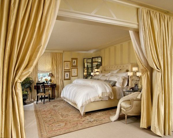 Traditional and Luxurious Master Bedroom with Golden Color Fabric Curtains and Drapes