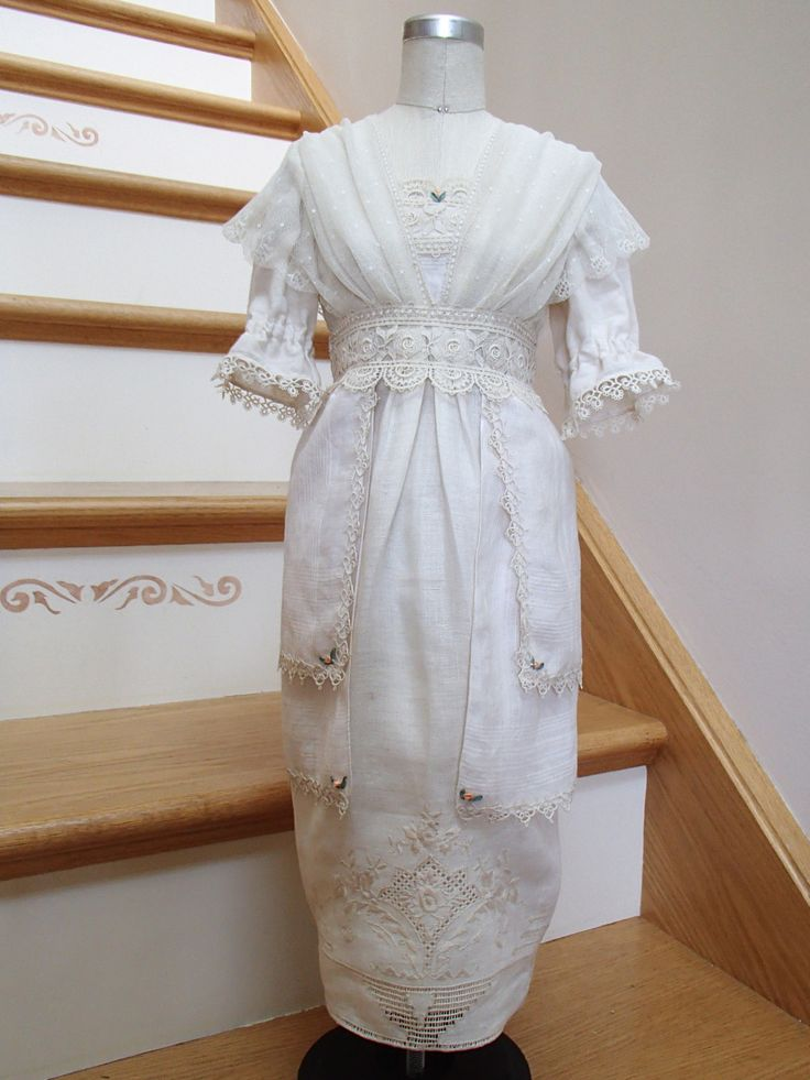 """My half-scale entry for the American Sewing Expo's """"Fashion Icons through the Ages"""" Challenge. My 1910 Edwardian Tea Dress was totally re-purposed from a box of vintage embroidered hankies, tatting, netting and laces."""