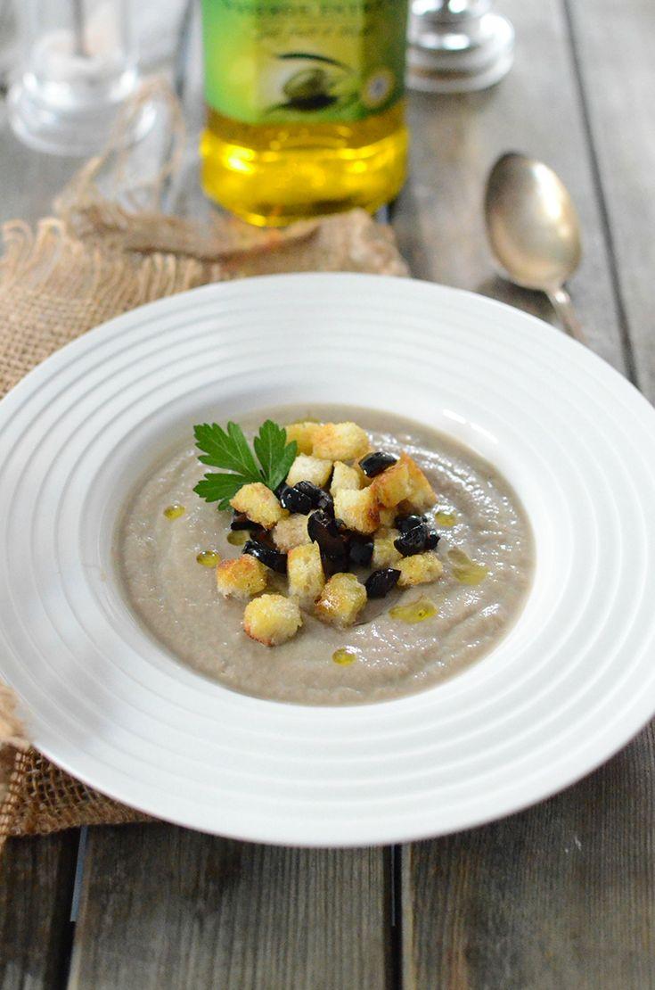 Soupe aux champignons et aux olives #recette #soupe