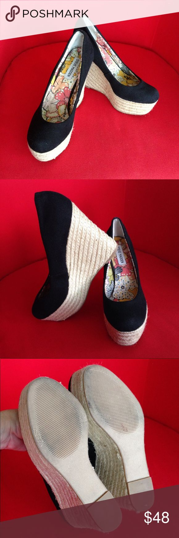 Steve Madden Marryy Black Espadrille Wedges Gently used but like new condition Steve Madden Women's 'Marryy' black canvas closed toe Espadrilles Platform Wedges. Size 8.5. Super stylish and sexy as Steve Madden kicks classic Spanish espadrille style to new heights. Steve Madden Shoes Espadrilles