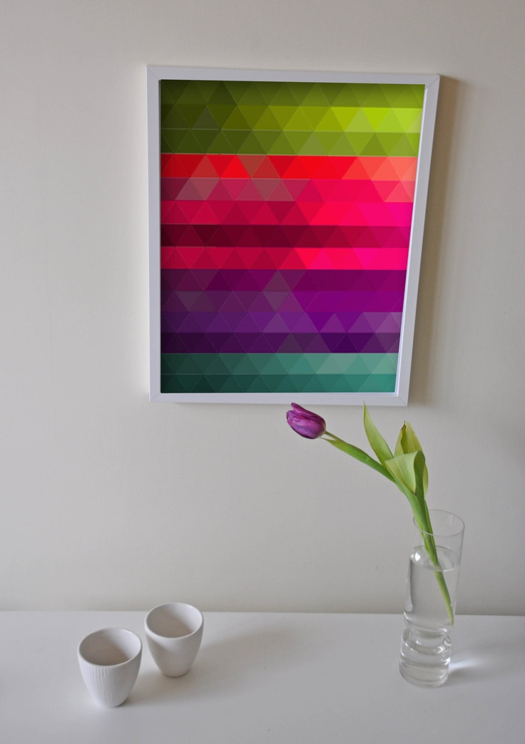 "Fine Art Print Illustration - Poetic Geometry:  Colorful Gradients 01  -  15""x20"" or 40x50cm Size AMORdesignpassion via Etsy."