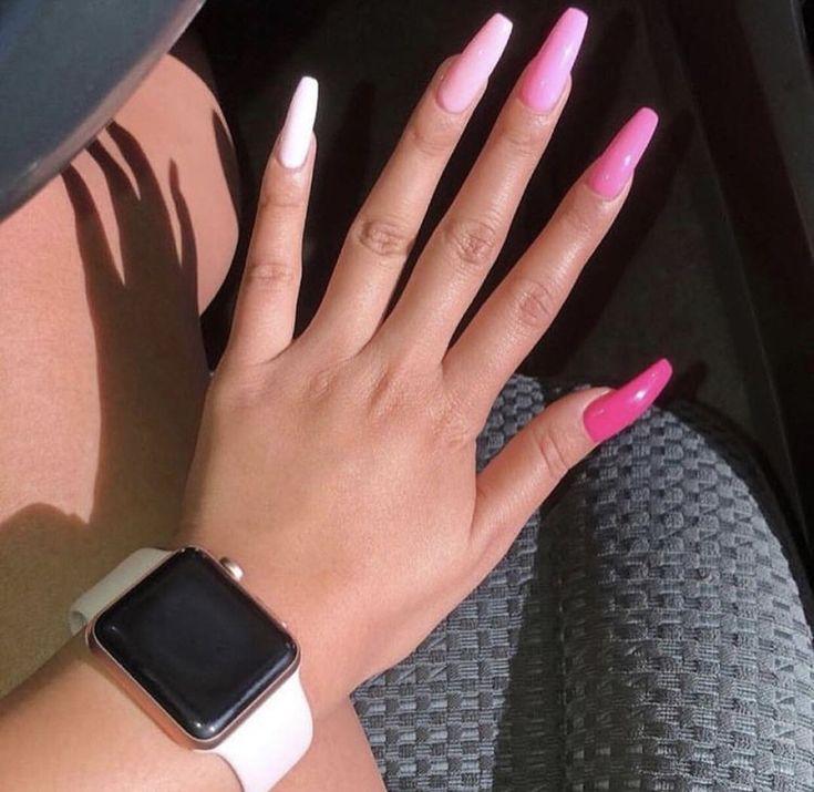 46 Romantic Pink Acrylic Nail Design 2019 Looks Classy