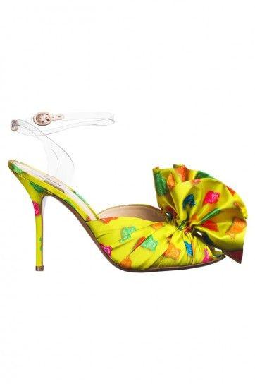 Sandali gialli con stampa Moschino