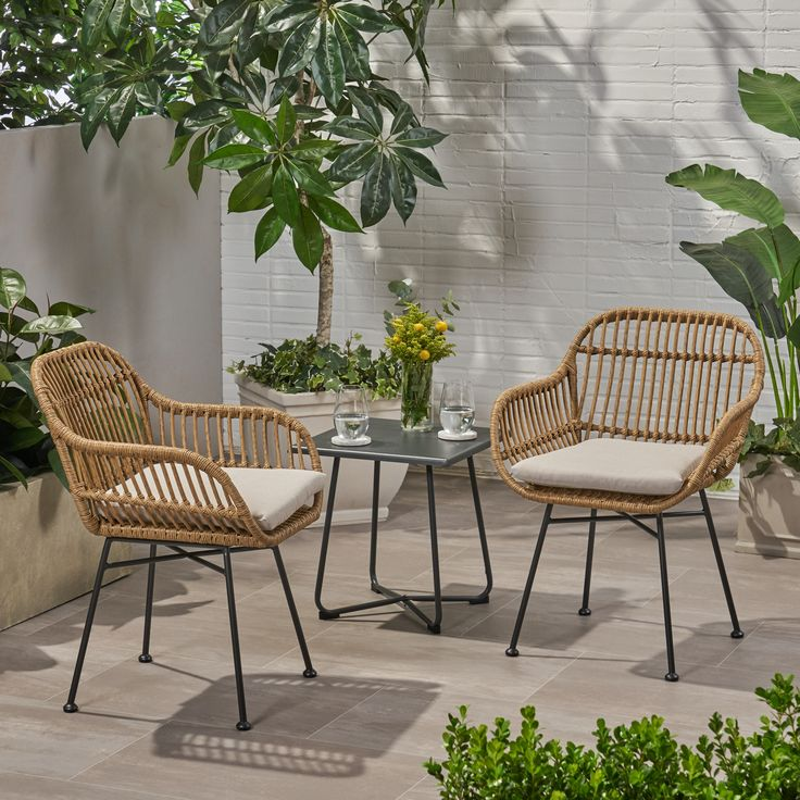 Louise Outdoor Woven Faux Rattan Chairs with Cushions, Set