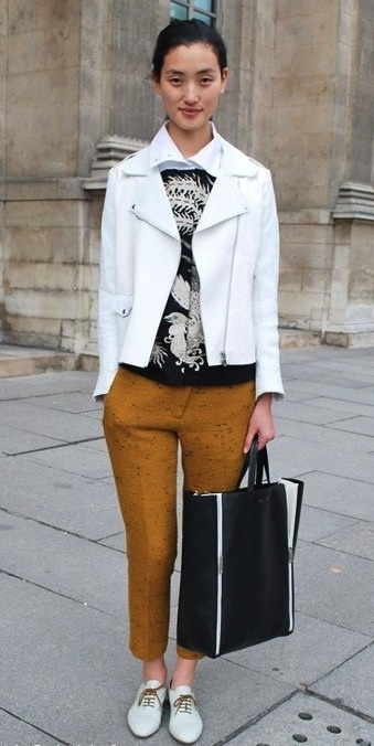 two ways to wear a white leather moto jacket