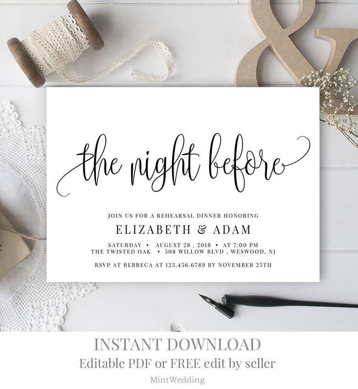 Pre Wedding Dinner Invitation: Rustic The Night Before Invitation Printable, Editable