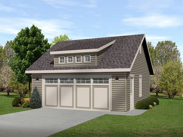Two car garage with shed dormer for light and curb appeal for Garage with dormers