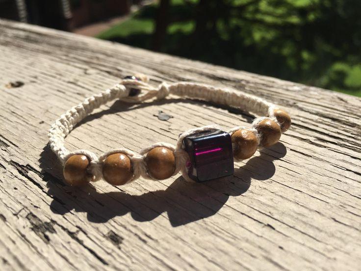 Hemp Bracelet, Macrame Bracelet, Boho Bracelet, Mens Bracelet, Mens Hemp Jewelry, Mens Hemp Bracelet, Purple Bead Bracelet, Natural Bracelet by AAZartsandjewelry on Etsy