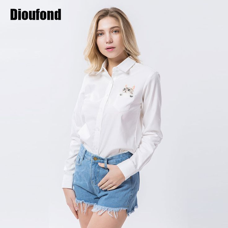 Price-10$        Dioufond Cat Embroidery Long Sleeve Women Blouses And Shirts White Blue Female Ladies Casual Shirt Tops Plus Size Blusas Blouse