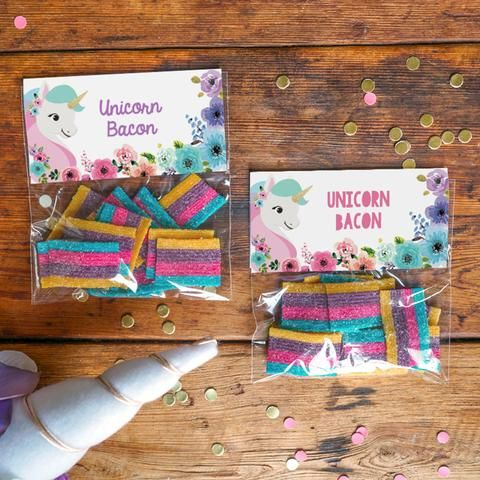 Unicorn Birthday Party Treat Bag Toppers   Floral Unicorn Favors