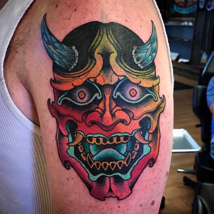 Hannya mask tattoo.  Japanese.  Neon.