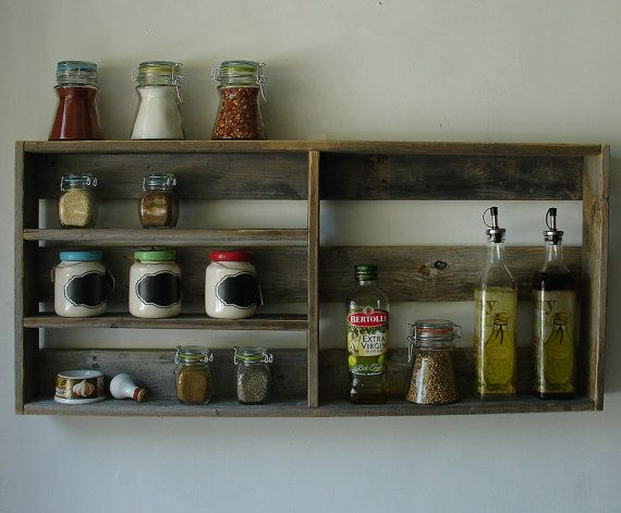 Rustic Reclaimed Wood Large Spice Rack Shelf by KeoDecor on Etsy, $85.00 inspiration. would need to be shorter in width, and taller to work