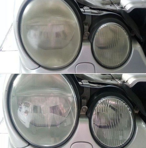 Let There Be Light Headlight Restoration Service - 2002 Mercedes Benz E430 Before and After. #headlightrestoration #headlightrestorationservices  #mercedesbenz #mercedes