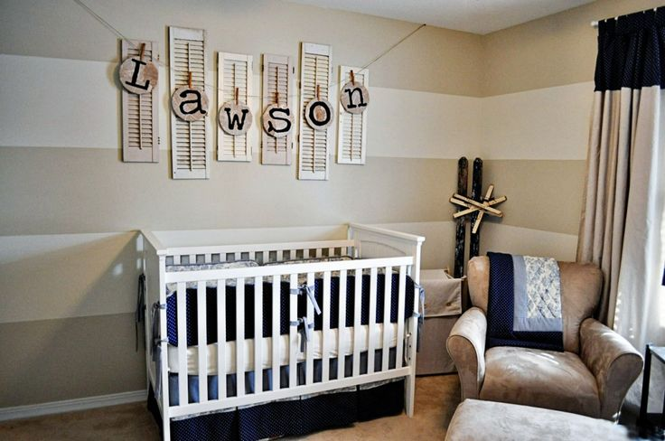 "LOVE this nursery for a boy! Includes a ""how to"" on making the cute letters!: Baby Names, Old Shutters, Stripes Wall, Boys Nurseries, Color, Baby Boys Rooms, Cots, Baby Rooms, Neutral Nurseries"