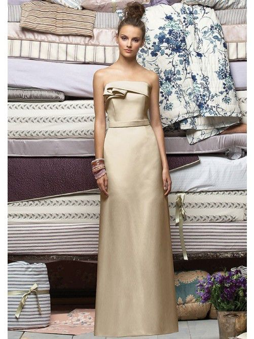 2015 Brilliant Strapless Satin Ruffled Empire Waist Column Floor Length Cheap Bridesmaid Dress