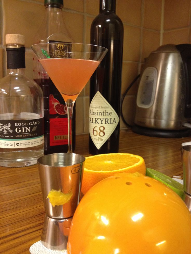 Monkey's Gland. Egge gård Gin, Valkyria Absinth, half an orange and drops of grenadine. Nice and liqorice-y.