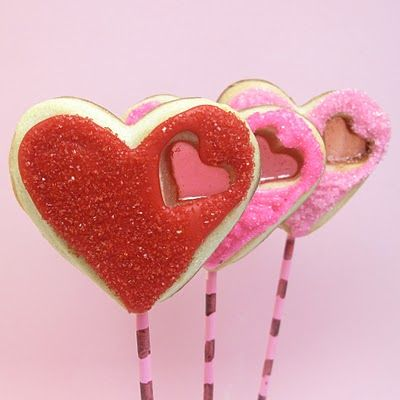 sparkly heart cookie pops with tiny stained glass heartsGlasses Heart, Holiday Decorvalentin, Sparkly Heart, Heart Cookies, Decor Cookies, Valentine Ideas, Sparkly Stained, Cookies Pop, Stained Glasses