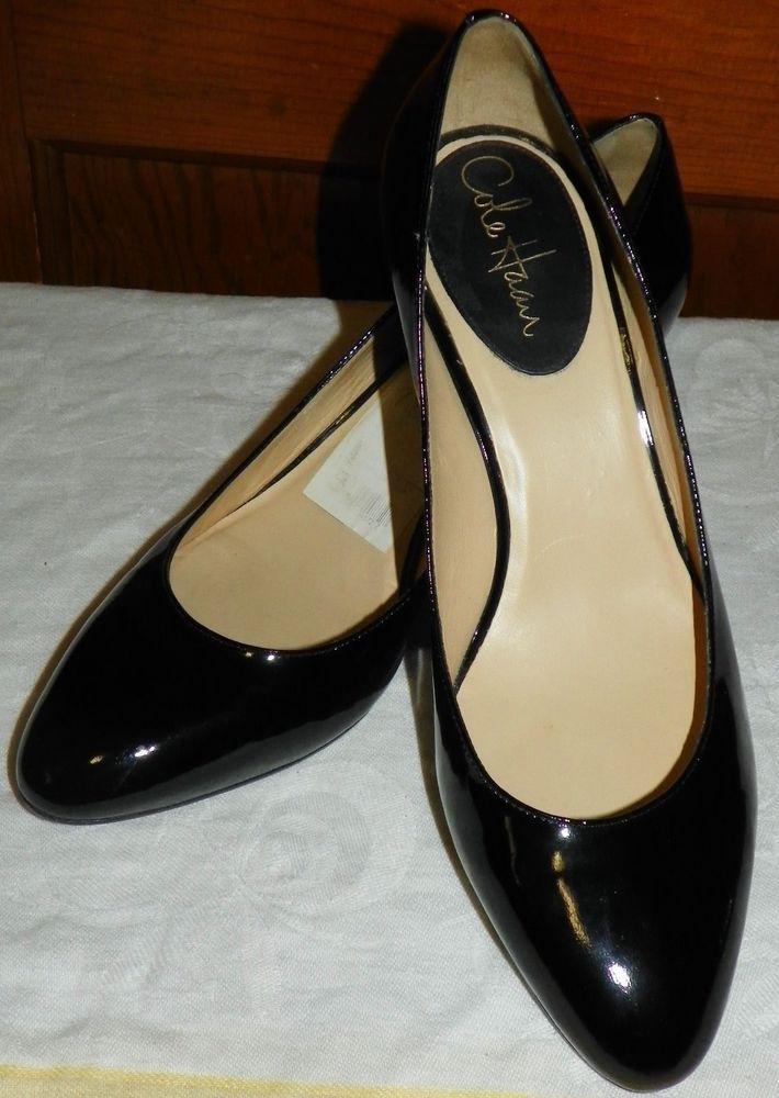 b04599f39c1 Details about COLE HAAN black patent leather square toe heels pumps ...