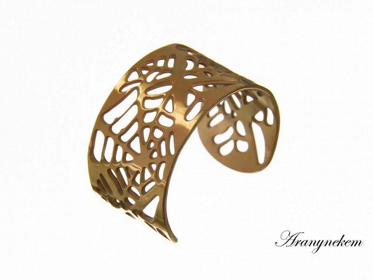 Arany színű pókháló motívumos állítható nemesacél gyűrű