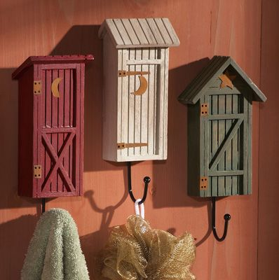 Country Outhouse Bathroom Decorative Wall Hooks
