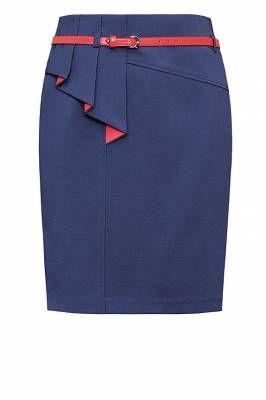 Юбка м-144/ чёрная Классическая прямая юбка со встречной складкой и интересной | Юбки
