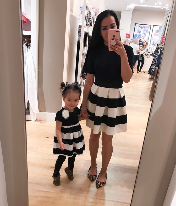 8b3585c37d9 mommy and me matching striped skirt outfit idea leopard shoes