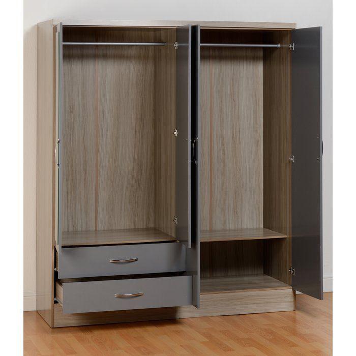 Baylee 3 Door Wardrobe Drawers Tall Cabinet Storage Large Shelves
