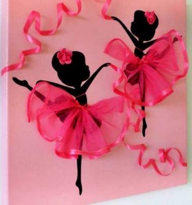 DIY Dancing ballerina tutu canvas wall art (kids room decor) // Táncoló balerinás falikép egyszerűen tüll szoknyával (gyerekszoba dekor) // Mindy - craft tutorial collection