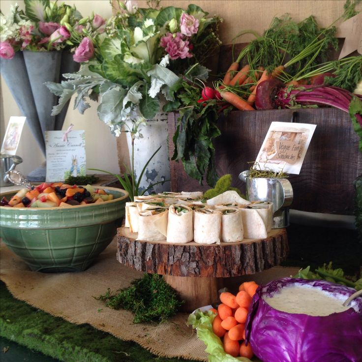 Garden inspired food for this Peter Rabbit baby shower! Event by Linen & Lilac. www.linenandlilac.com