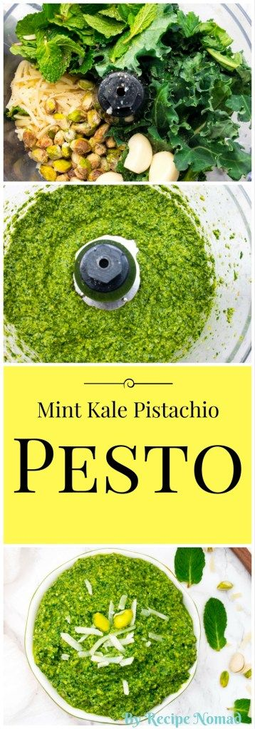 Mint Kale Pistachio Pesto is the perfect spring pesto! Bursting with refreshing mint flavors add it your favorite pasta recipe or spread it over oven roasted salmon!  http://www.recipenomad.com/mint-kale-pistachio-pesto/  Fresh Mint Kale Pistachio Pesto | Recipe Nomad
