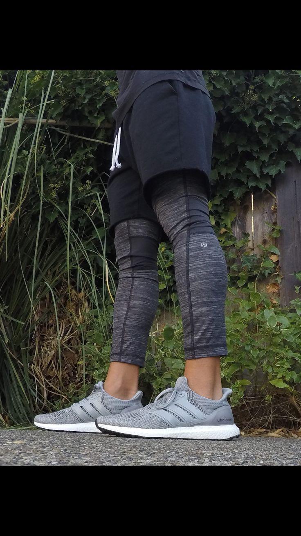 GREY ADIDAS ULTRABOOST. MENS Lululemon leggings. h&m sweat shorts