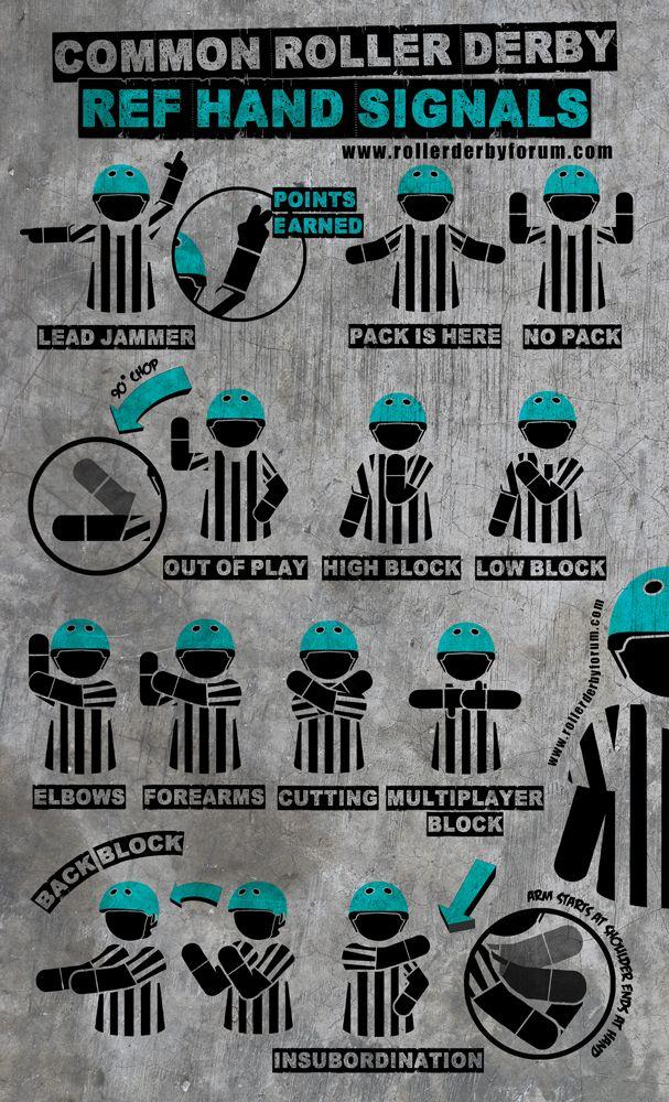 Roller Derby Ref Hand Signals!!  #RollerDerby #WFTDA  http://rollerderbyforum.com/threads/common-roller-derby-referee-hand-signals.74/