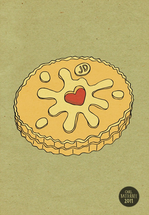 Jammie Dodger Biscuit Pen and Ink Illustration by CarlBatterbee, £7.99