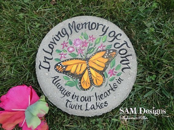 What a beautiful gift for someone who has lost a loved one. Personalize with names, place and color of butterfly. All concrete stones weight about 15 lbs and are 12 inches round. **Paint will stay in ALL weather conditions.  (scheduled via http://www.tail (scheduled via http://www.tailwindapp.com?utm_source=pinterest&utm_medium=twpin)