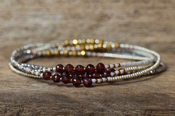 Garnet Bracelet, January Birthstone, Beaded Wrap Bracelet, Hematite Bracelet, Stretchy Bracelet, Seed Bead Bracelet, Gemstone Bracelet, Boho